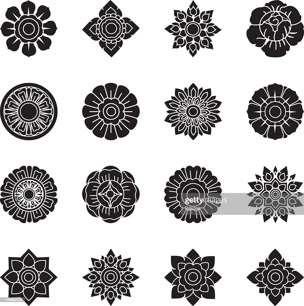 Thai Motifs Flowers Silhouette Icons | Set 1 : stock illustration
