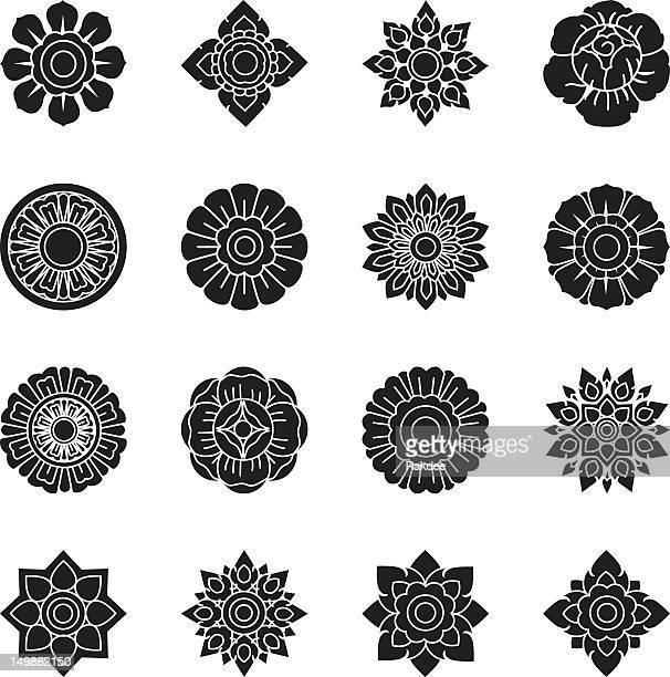 Thai Motifs Flowers Silhouette Icons | Set 1
