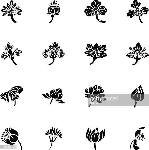 Thai Motifs Flowers Silhouette Icons | Set 2