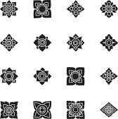Thai Motifs Flowers Silhouette Icons   Set 3