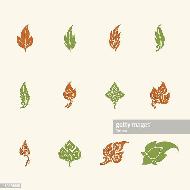 Thai Motifs Leafs Icons - Color Series