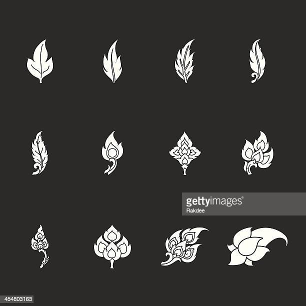 Thai Motifs Leafs Icons - White Series