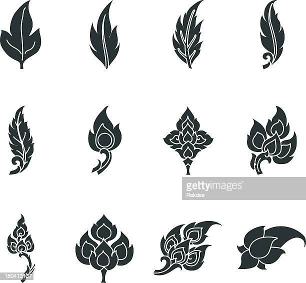 thai motifs leafs silhouette icons - thailand stock illustrations