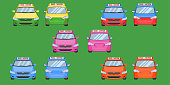 thai taxi cap car front back view transport service passenger vehicle type yellow green purple blue orange red vector illustration