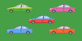 thai taxi cap car transport service passenger vehicle type yellow green purple blue orange red vector illustration