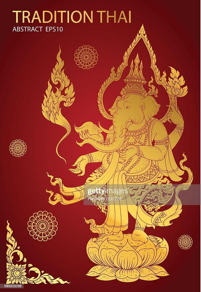 thai tradition buddha hindu vector