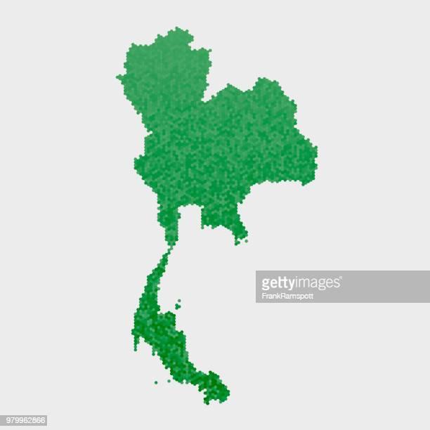 Thailand Land Map grünen Sechseck-Muster