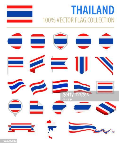 タイ - フラグ アイコン フラット ベクトルを設定 - タイ王国点のイラスト素材/クリップアート素材/マンガ素材/アイコン素材