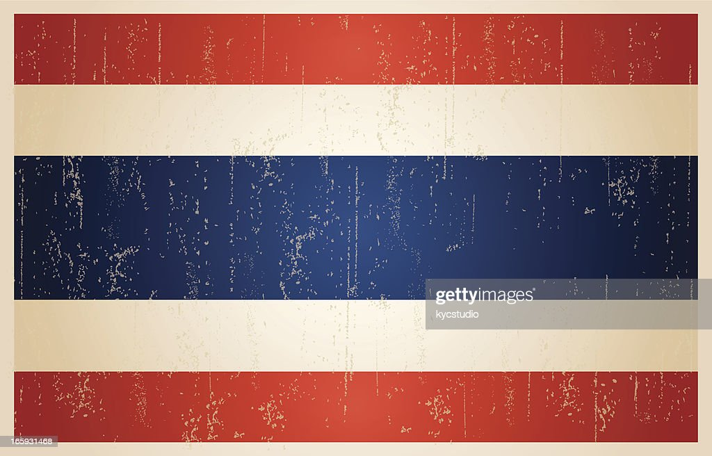 Thailand flag in grunge and vintage style. : stock illustration
