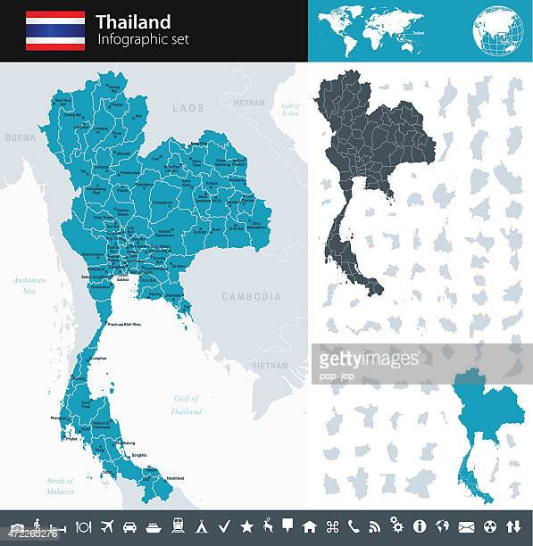 thailand - infographic map - illustration - thailand stock illustrations
