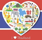 Thailand love. Set thai vector icons and symbols