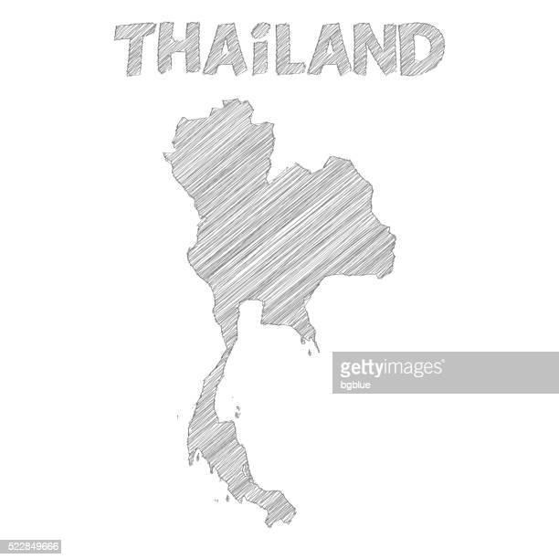 Thaïlande, carte réalisées à la main sur fond blanc