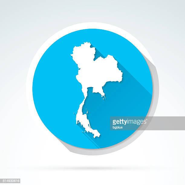 Thailand map icon, Flat Design, Long Shadow
