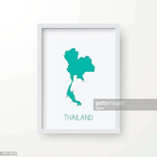Thaïlande, carte avec cadre sur fond blanc