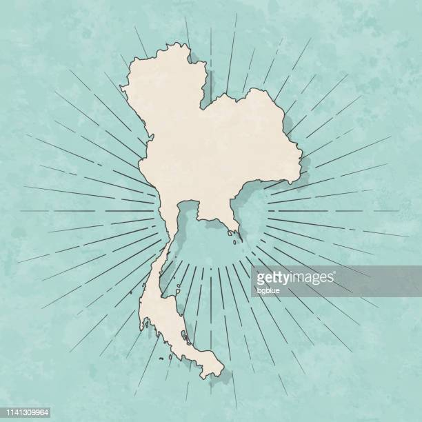 thailand map in retro vintage style - old textured paper - thailand stock illustrations