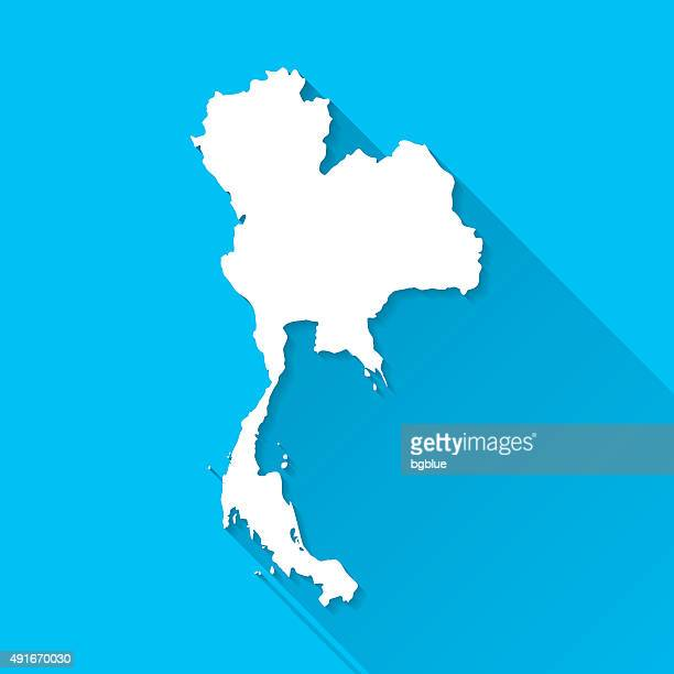 thailand map on blue background, long shadow, flat design - thailand stock illustrations