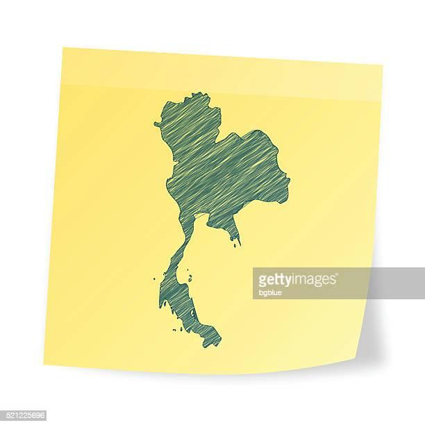Thaïlande, carte sur Post-it avec dessin à main levée effet
