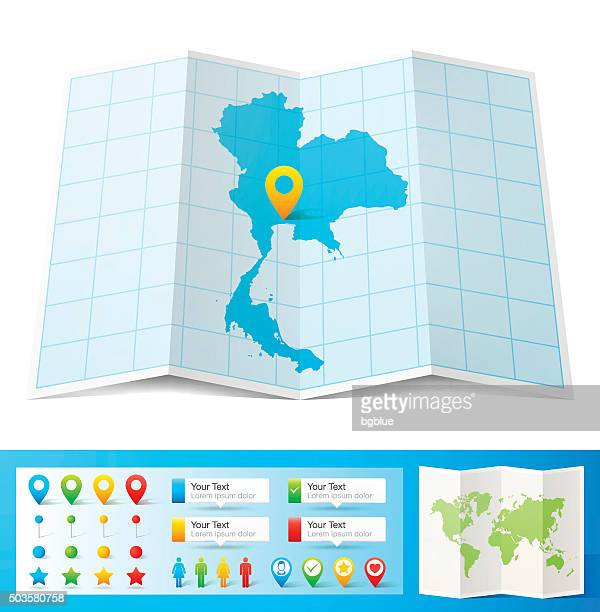 Thailand Map with location pins isolated on white Background