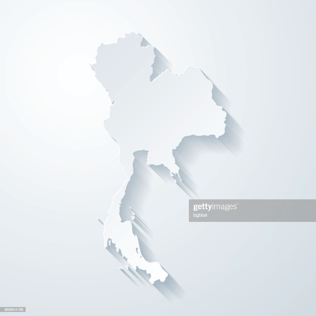 Thailand Map With Paper Cut Effect On Blank Background Vector Art - Thailand blank map