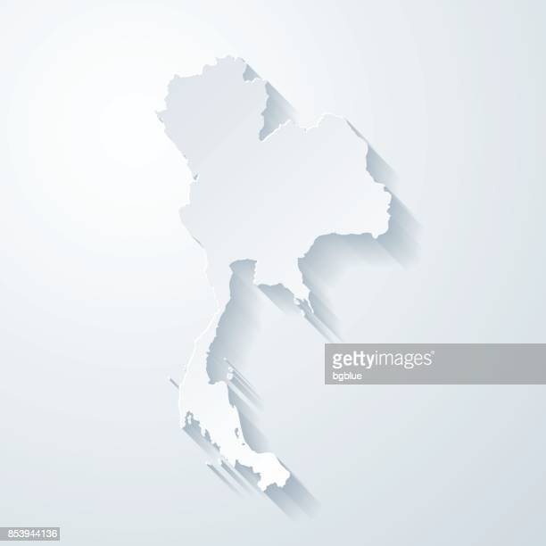 Thailand map with paper cut effect on blank background