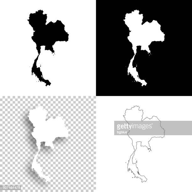 thailand maps for design - blank, white and black backgrounds - thailand stock illustrations