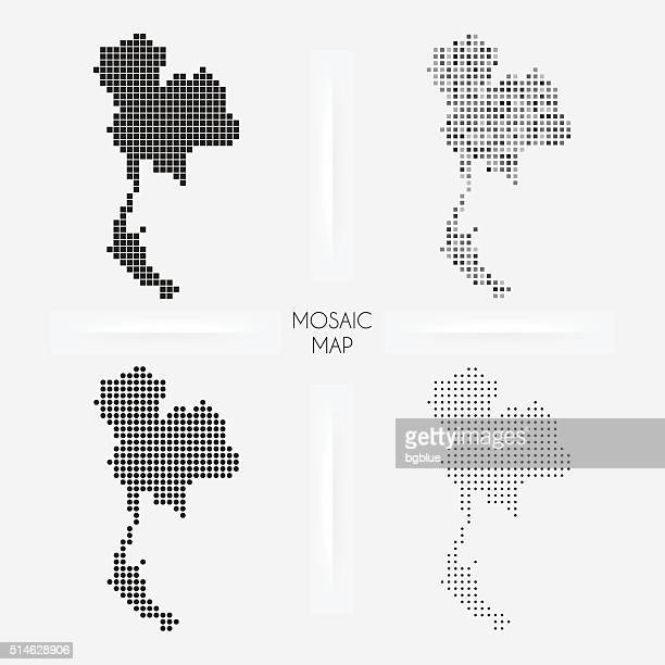 Thailand maps - Mosaic squarred and dotted