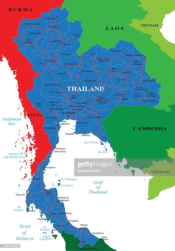 Thailand Topographic Map.Thailand Province Divisions On A Topographic Map Vector Art Getty