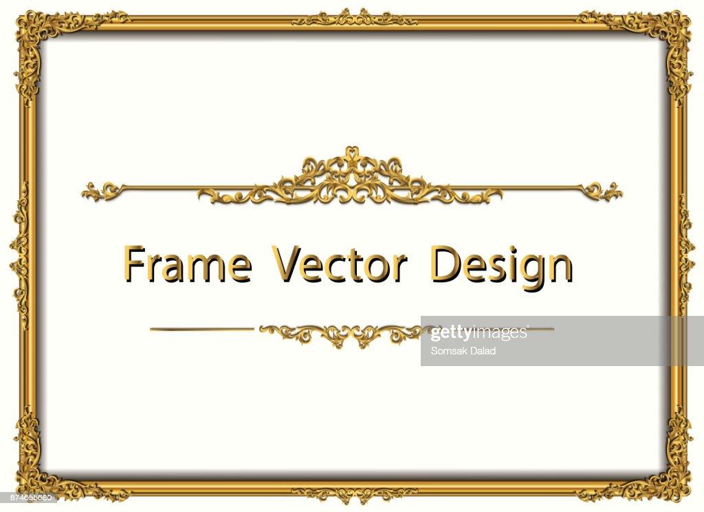 Thailand Royal Gold Frame Auf Drake Muster Hintergrund Vintage ...