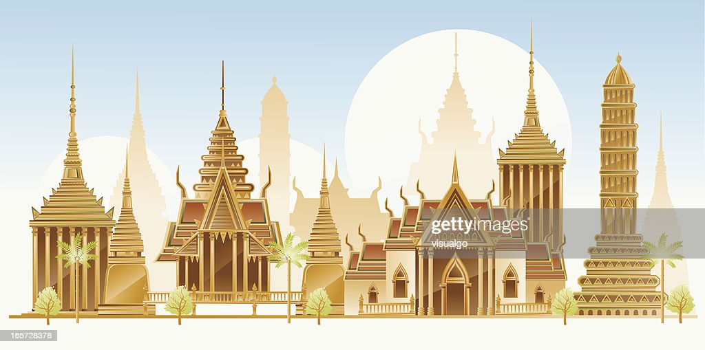 Thailand traditional architecture : stock illustration
