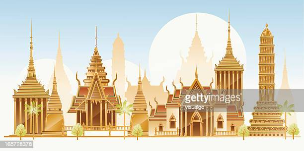 thailand traditionelle architektur - thailand stock-grafiken, -clipart, -cartoons und -symbole