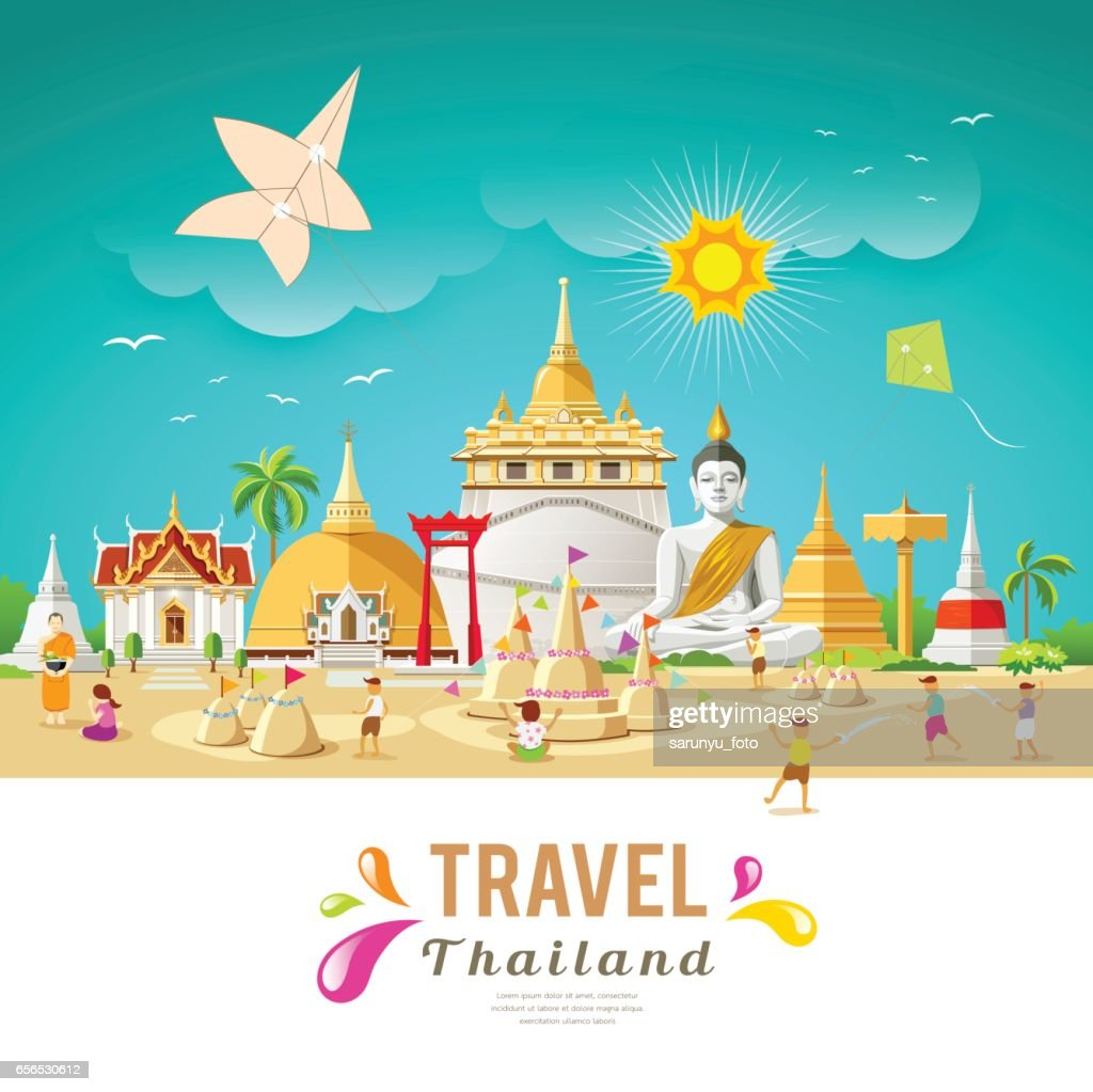 Thailand travel building and landmark