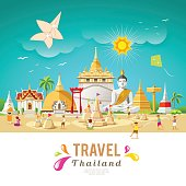 Thailand travel building and landmark