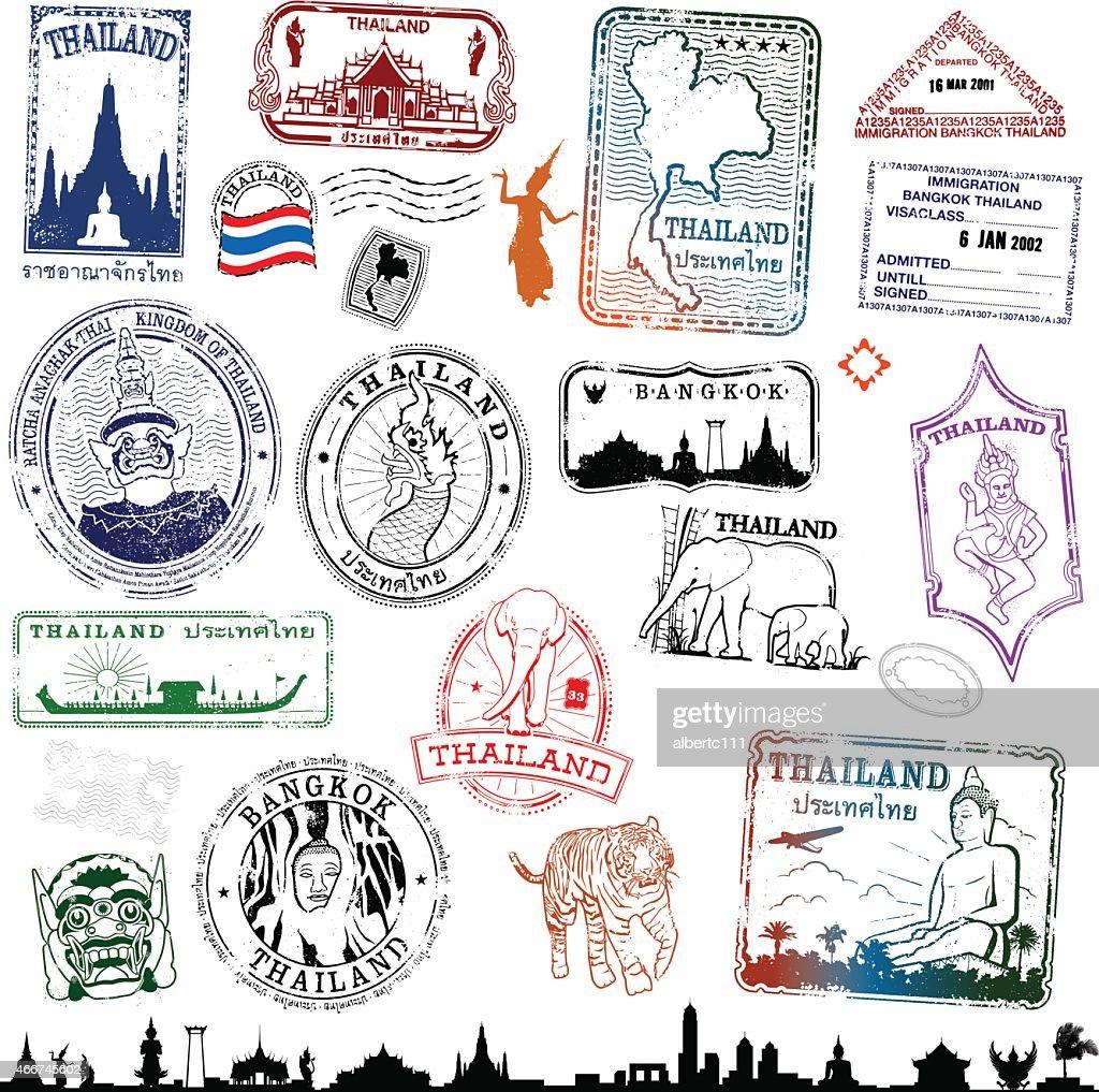 Thailand Travel Stamps : stock illustration