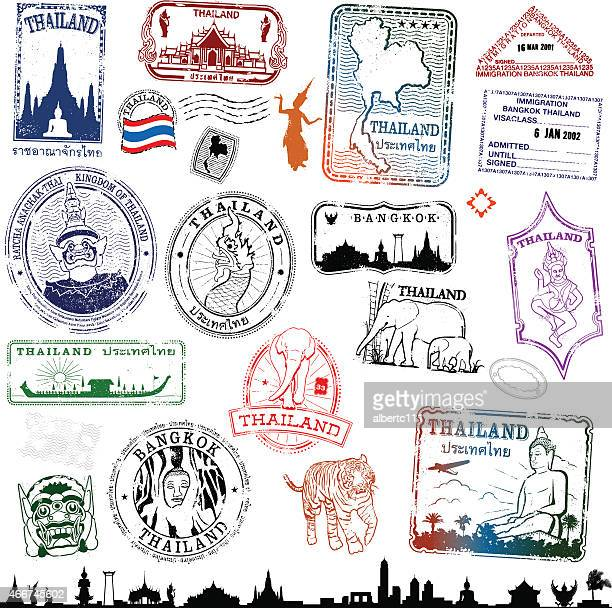 thailand travel stamps - thailand stock illustrations