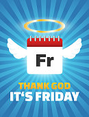 Thank god its Friday quote, Calendar with wings and halo, funny cartoon
