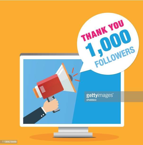 thank you 1000 followers - social media followers stock illustrations