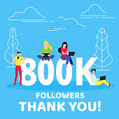 Thank you 800000 followers numbers postcard. People man, woman big numbers flat style design 800k thanks vector illustration isolated on blue background. Template for internet media and social network