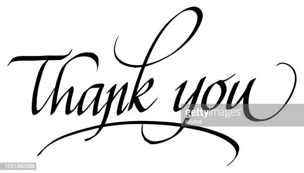 thank you! calligraphic inscription. calligraphic lettering design template. creative typography for greeting card, gift poster, banner etc. - thanks quotes stock illustrations