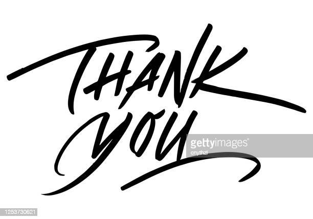 thank you calligraphic inscription. calligraphic lettering design template. creative typography for greeting card, gift poster, banner etc. - thank you phrase stock illustrations
