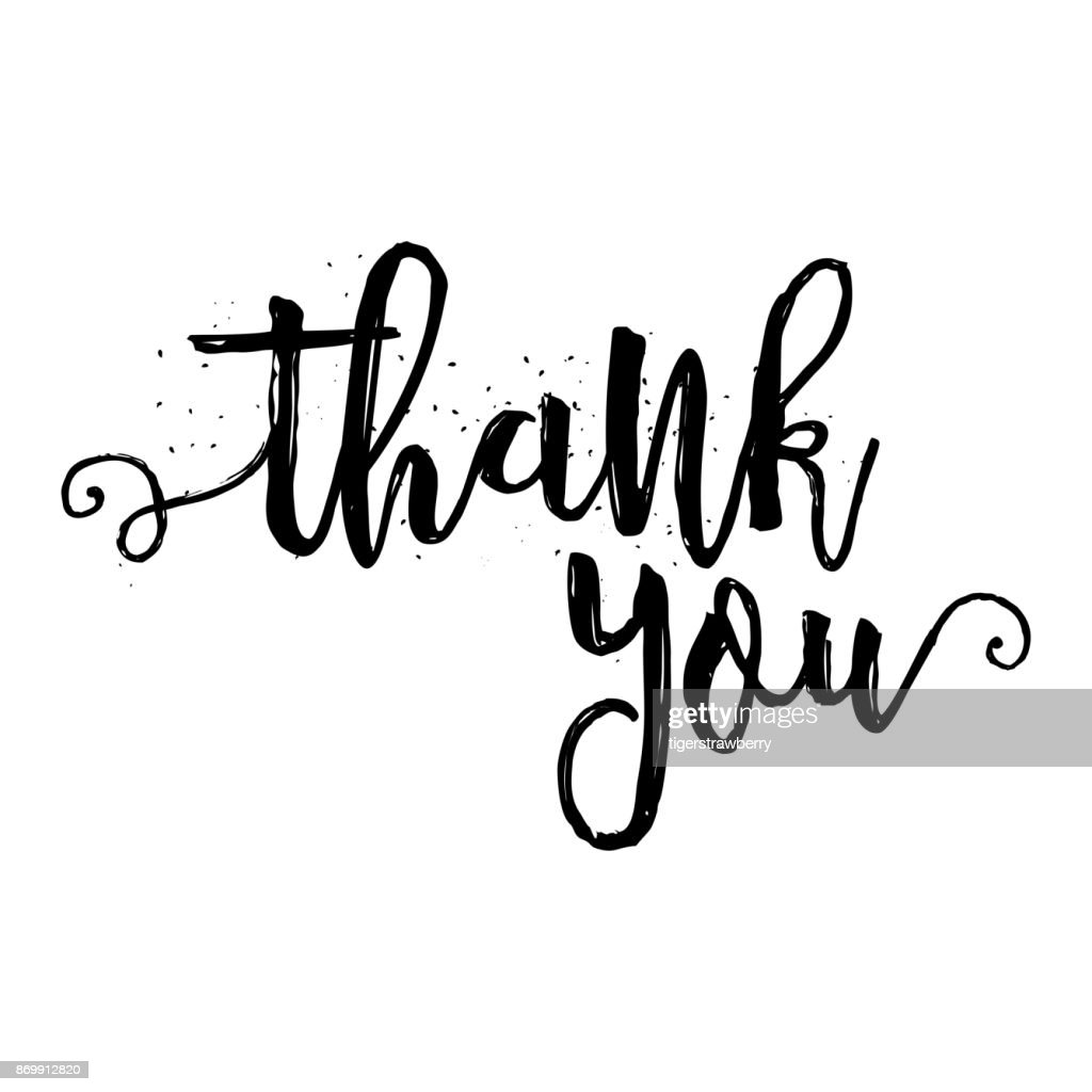 Thank You calligraphy sign. Brush painted letters, expression of gratitude vector illustration.