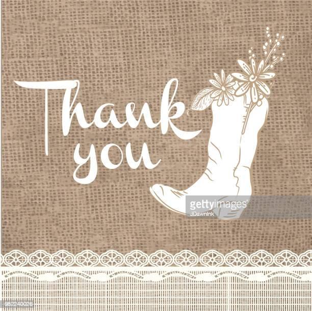 黄麻布の素朴な背景ありがとうございますカード デザイン招待状のテンプレート - カウボーイブーツ点のイラスト素材/クリップアート素材/マンガ素材/アイコン素材