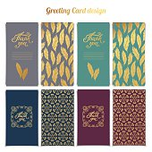 Thank You card templates design with golden pattern set
