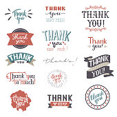 Thank You card vector set text thankful lettering typography letter sing thankfulness illustration isolated on white background