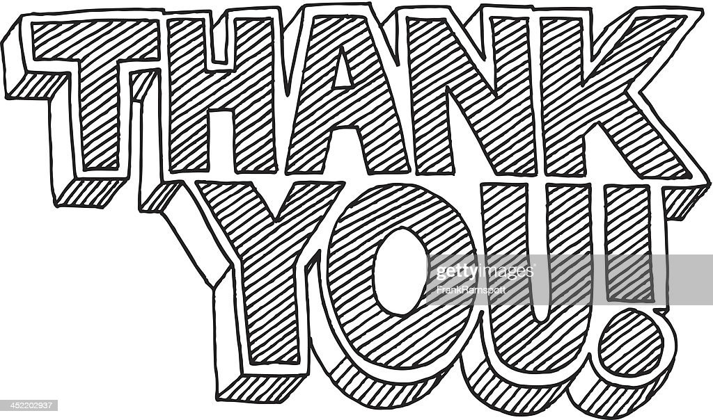 thank you cartoon style text drawing vector art getty images