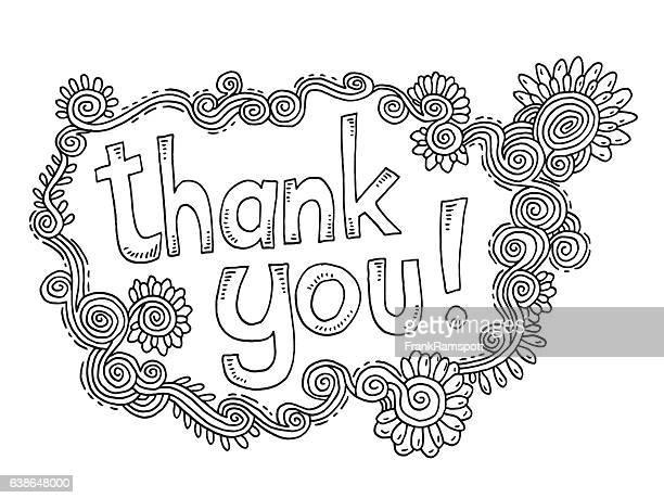 ilustraciones, imágenes clip art, dibujos animados e iconos de stock de thank you doodle ornament flowers drawing - thank you frase corta en inglés