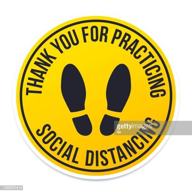 danke für die praktische soziale zersagung - hinweisschild stock-grafiken, -clipart, -cartoons und -symbole