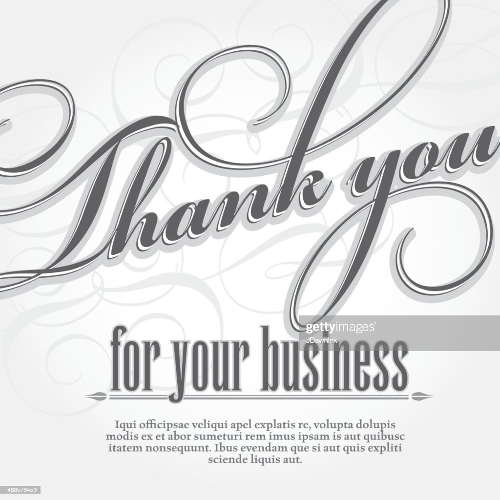 Thank You For Your Business Design Card Template Vector Art | Getty ...