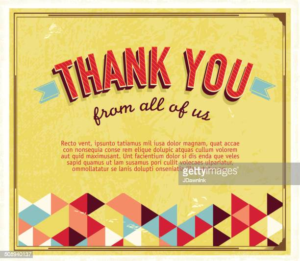 Thank you greeting card template with triangle pattern