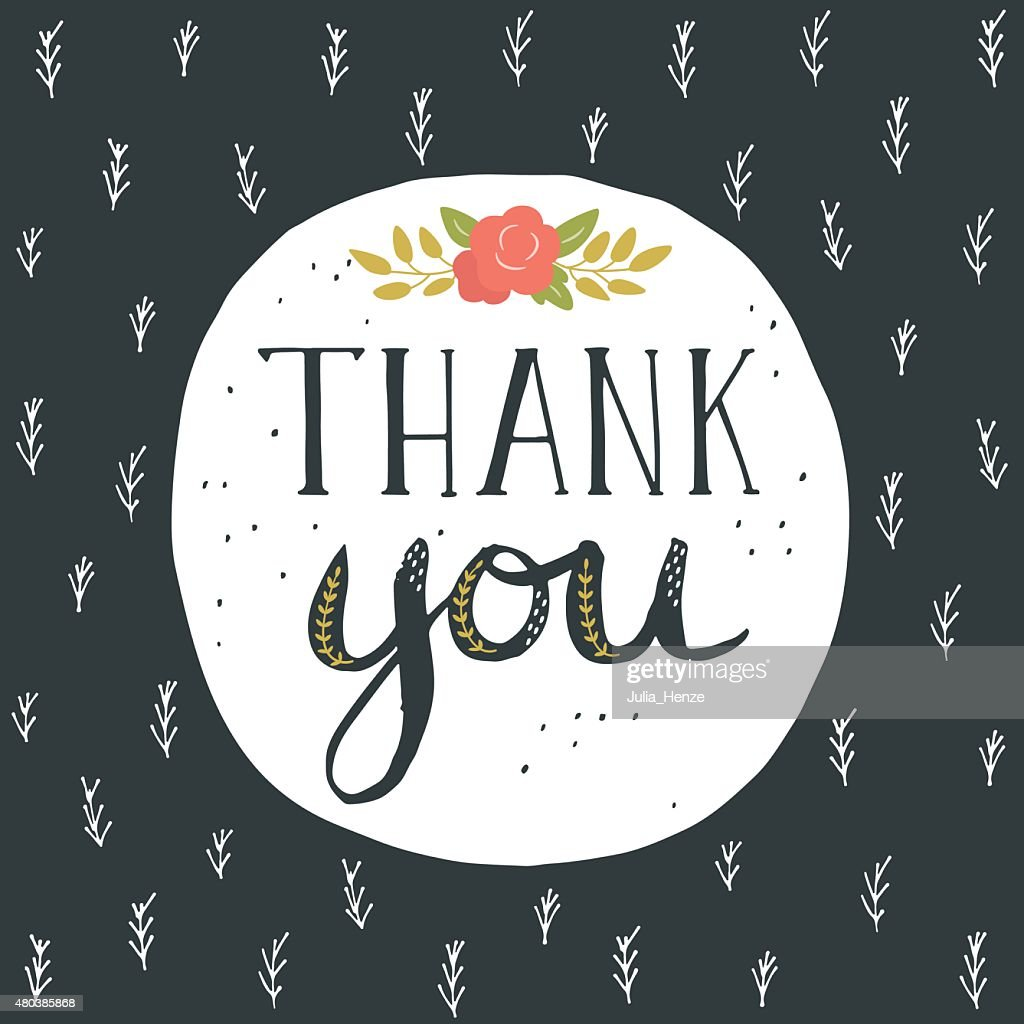 Thank You Greeting Card With Hand Lettering And Flowers Vector Art