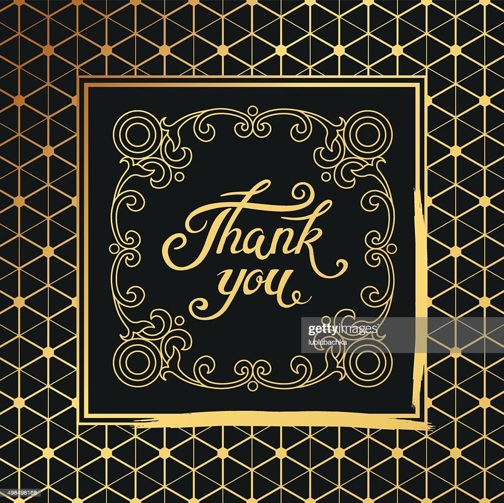 Thank You hand drawn lettering with Art Deco black frame.